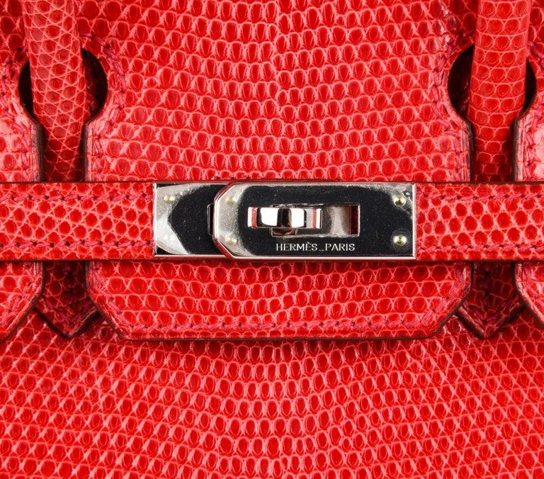 Hermes Birkin 25 Bag Rouge Exotic Lizard Palladium Hardware In New Condition For Sale In Miami, FL