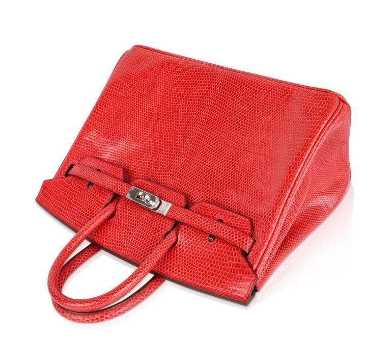 Hermes Birkin 25 Bag Rouge Exotic Lizard Palladium Hardware For Sale 1