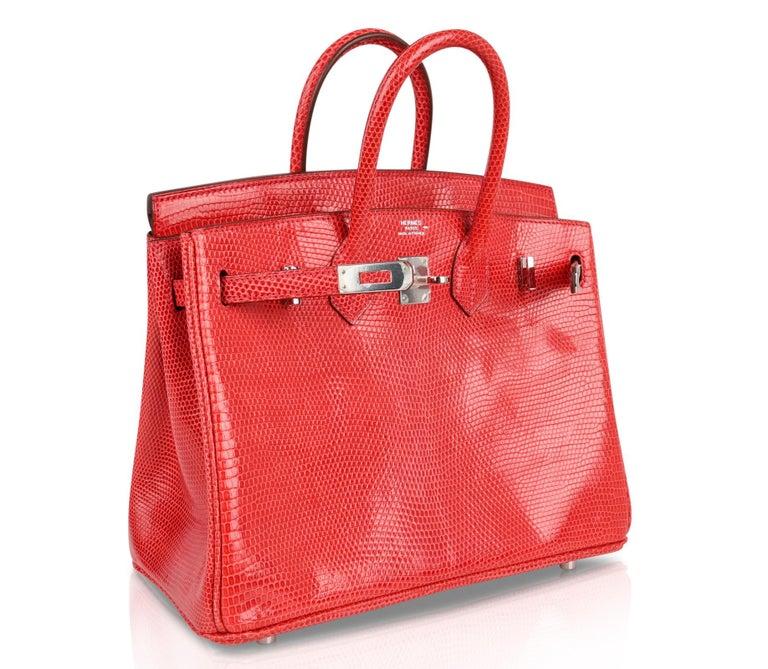 Hermes Birkin 25 Bag Rouge Exotic Lizard Palladium Hardware For Sale 3