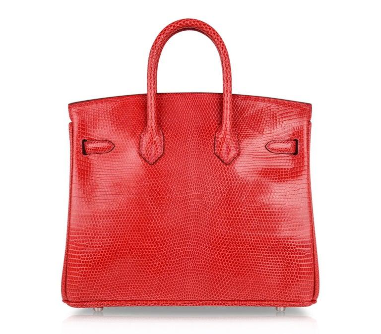 Hermes Birkin 25 Bag Rouge Exotic Lizard Palladium Hardware For Sale 4