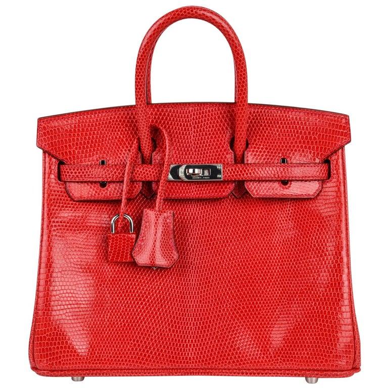 Hermes Birkin 25 Bag Rouge Exotic Lizard Palladium Hardware For Sale