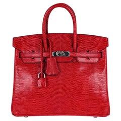 Hermes Birkin 25 Bag Rouge Exotic Lizard Palladium Hardware