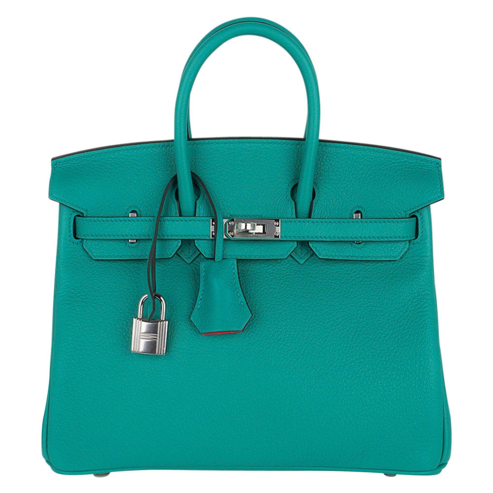 Hermes Birkin 25 Bag Verso Vert Verone/Rose Lipstick Novillo Leather New w/Box