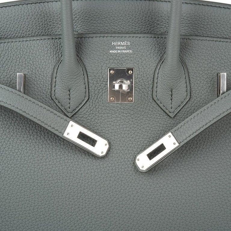 Women's Hermes Birkin 25 Bag Vert Amande Togo Palladium Hardware For Sale