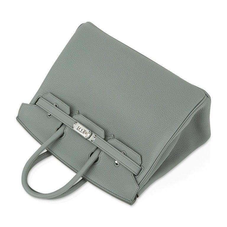 Hermes Birkin 25 Bag Vert Amande Togo Palladium Hardware For Sale 2