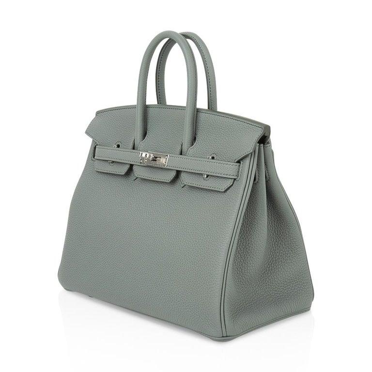 Hermes Birkin 25 Bag Vert Amande Togo Palladium Hardware For Sale 3
