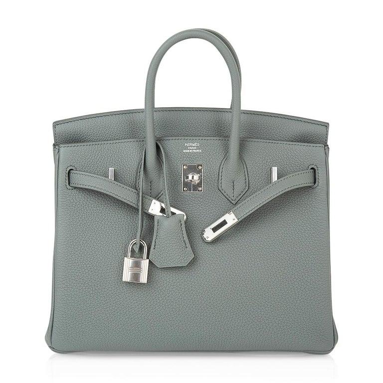 Hermes Birkin 25 Bag Vert Amande Togo Palladium Hardware For Sale 4
