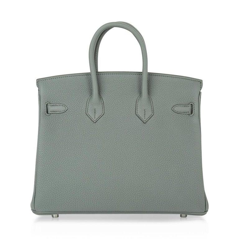 Hermes Birkin 25 Bag Vert Amande Togo Palladium Hardware For Sale 5