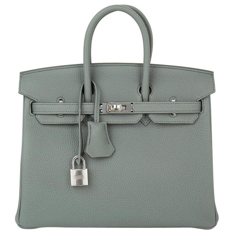 Hermes Birkin 25 Bag Vert Amande Togo Palladium Hardware For Sale