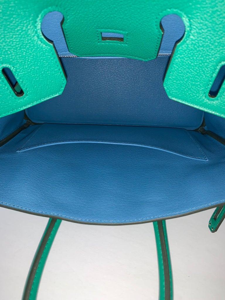 Hermes Birkin 25 Bag Vert Vertigo Green Verso Blue Interior 6