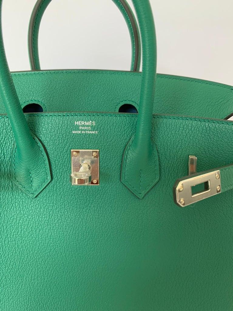 Hermes Birkin 25 Bag Vert Vertigo Green Verso Blue Interior 7