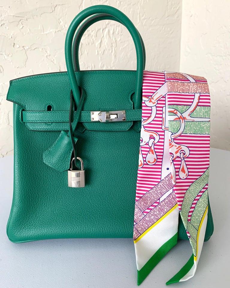 Women's or Men's Hermes Birkin 25 Bag Vert Vertigo Green Verso Blue Interior