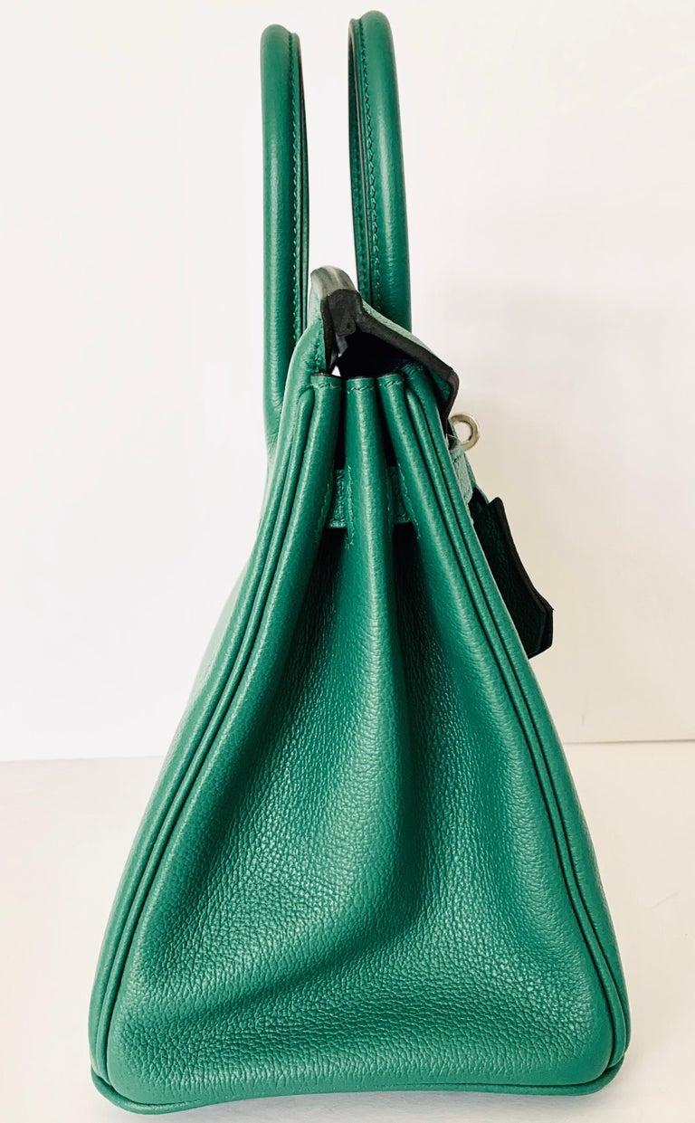 Hermes Birkin 25 Bag Vert Vertigo Green Verso Blue Interior 1