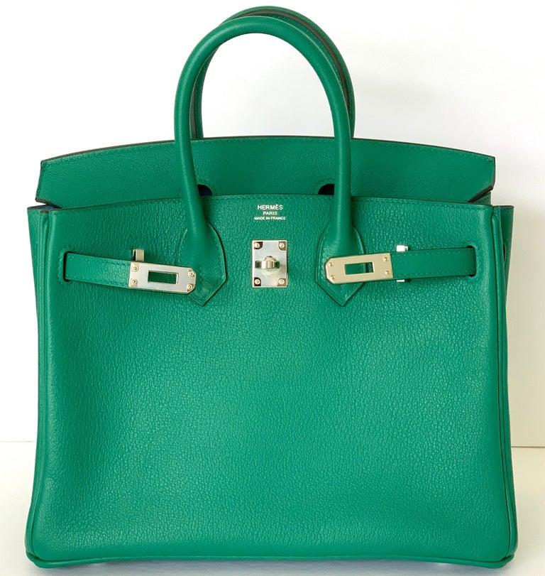 Hermes Birkin 25 Bag Vert Vertigo Green Verso Blue Interior 2