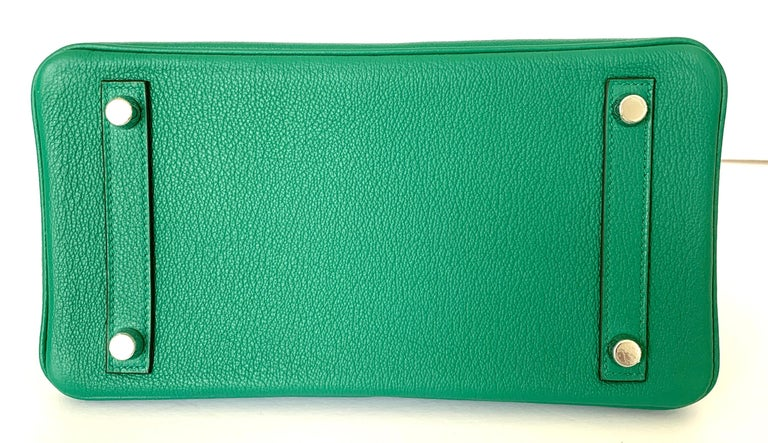 Hermes Birkin 25 Bag Vert Vertigo Green Verso Blue Interior 3