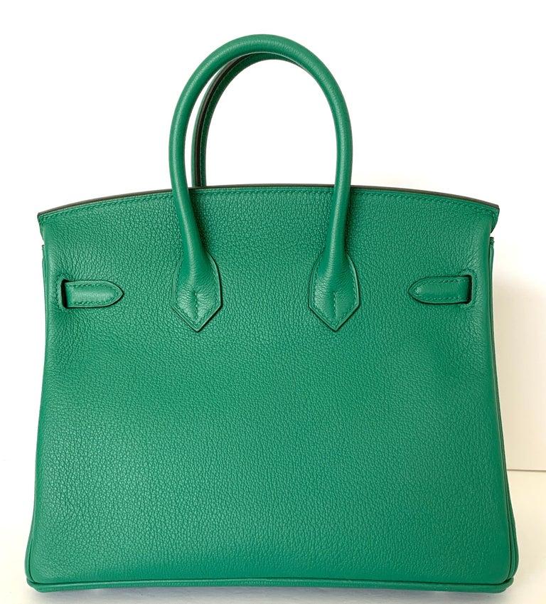 Hermes Birkin 25 Bag Vert Vertigo Green Verso Blue Interior 5