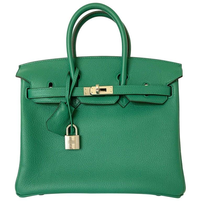 Hermes Birkin 25 Bag Vert Vertigo Green Verso Blue Interior
