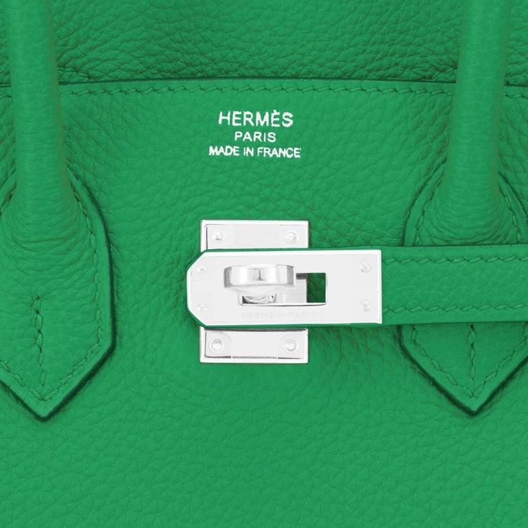 Hermes Birkin 25 Bambou Green Verso Caramel Bamboo Togo Bag Y Stamp, 2020 For Sale 6
