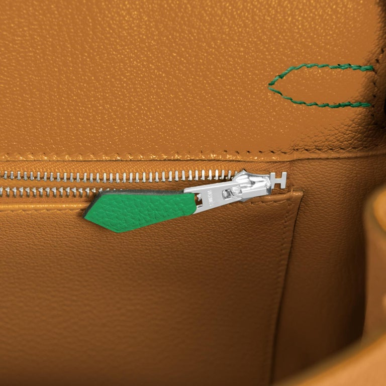 Hermes Birkin 25 Bambou Green Verso Caramel Bamboo Togo Bag Y Stamp, 2020 In New Condition For Sale In New York, NY