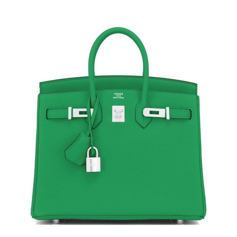 Hermes Birkin 25 Bambou Green Verso Caramel Bamboo Togo Bag Y Stamp, 2020 For Sale 1