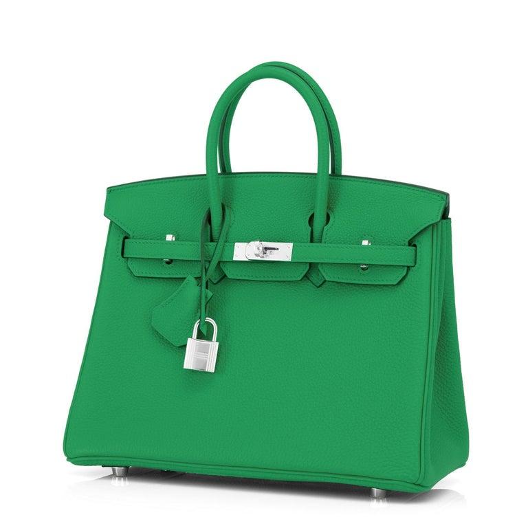 Hermes Birkin 25 Bambou Green Verso Caramel Bamboo Togo Bag Y Stamp, 2020 For Sale 2