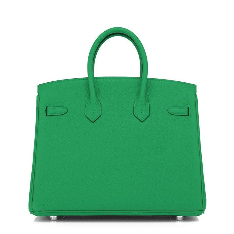 Hermes Birkin 25 Bambou Green Verso Caramel Bamboo Togo Bag Y Stamp, 2020 For Sale 4