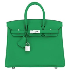 Hermes Birkin 25 Bambou Green Verso Caramel Bamboo Togo Bag Y Stamp, 2020