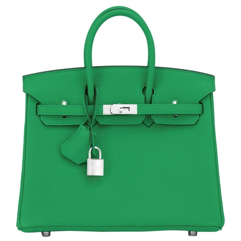 Hermes Birkin 25 Bambou Green Verso Caramel Bamboo Togo Bag Y Stamp, 2020 For Sale