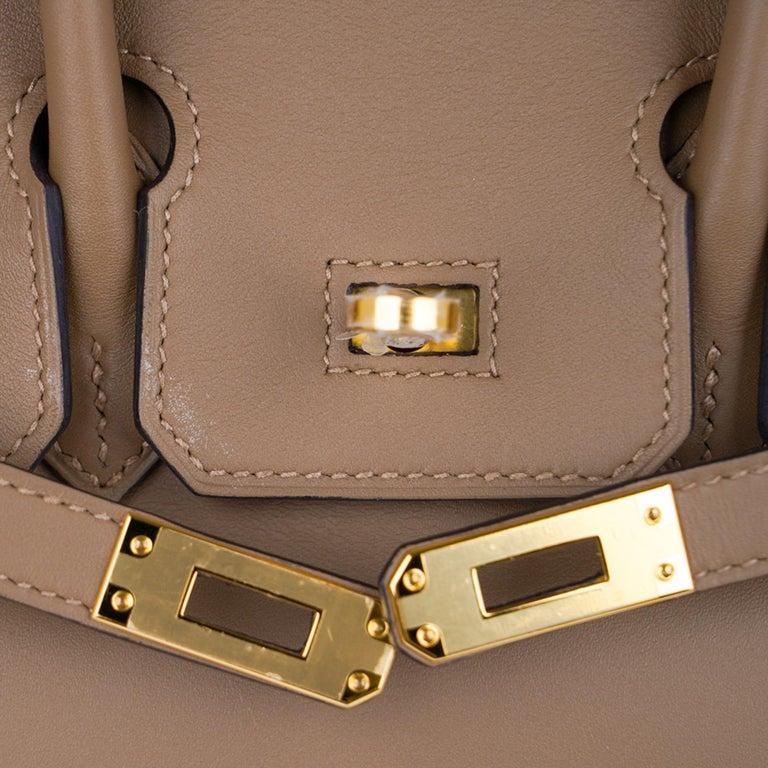 Hermes Birkin 25 Beige De Weimar Veau Jonathan Leather Gold Hardware For Sale 6