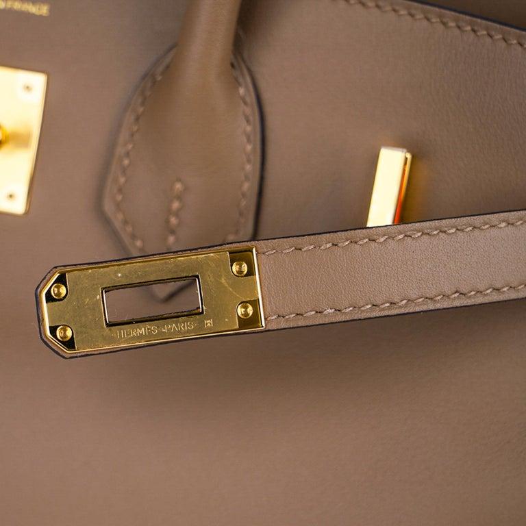 Brown Hermes Birkin 25 Beige De Weimar Veau Jonathan Leather Gold Hardware For Sale