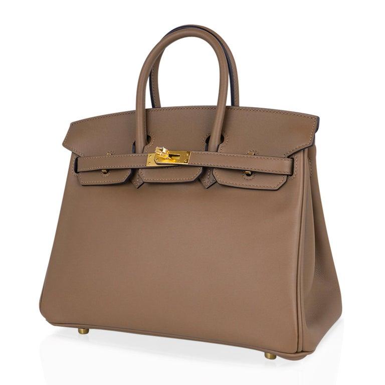 Hermes Birkin 25 Beige De Weimar Veau Jonathan Leather Gold Hardware For Sale 2