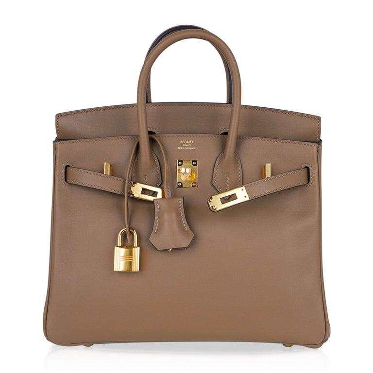 Hermes Birkin 25 Beige De Weimar Veau Jonathan Leather Gold Hardware For Sale 3