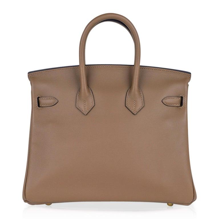 Hermes Birkin 25 Beige De Weimar Veau Jonathan Leather Gold Hardware For Sale 4
