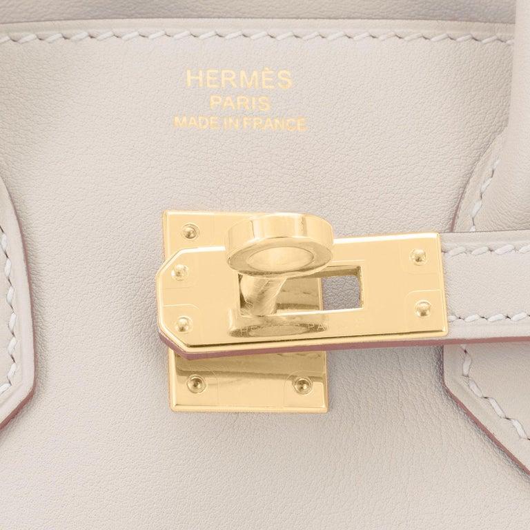 Hermes Birkin 25 Beton Off White Gold Hardware Bag Y Stamp, 2020  For Sale 5