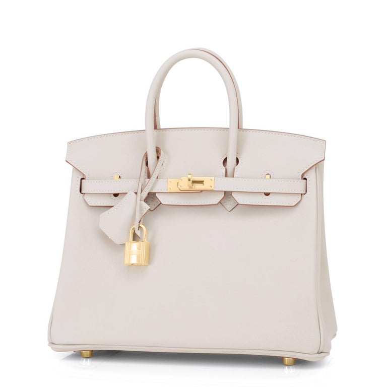Guaranteed Authentic Hermes Birkin 25cm Beton Gold Hardware Swift Off White Bag Y Stamp, 2020  Just purchased from Hermes store! Bag bears new interior 2020 Y Stamp. Brand New in Box.  Store Fresh.  Pristine Condition (with plastic on hardware)