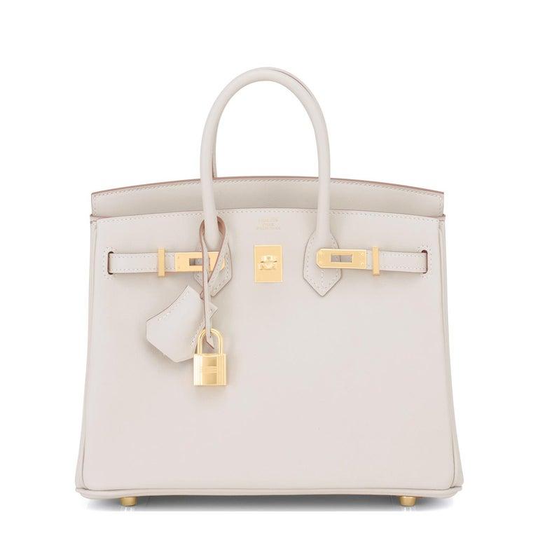Beige Hermes Birkin 25 Beton Off White Gold Hardware Bag Y Stamp, 2020  For Sale