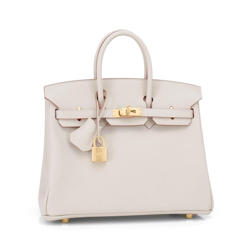 Hermes Birkin 25 Beton Off White Gold Hardware Bag Y Stamp, 2020  In New Condition For Sale In New York, NY
