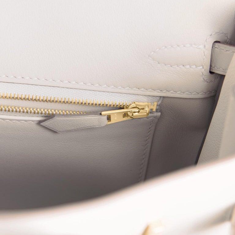 Hermes Birkin 25 Beton Off White Gold Hardware Bag Y Stamp, 2020  For Sale 4