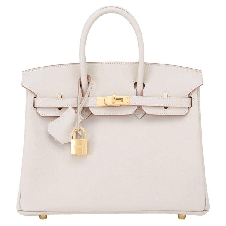 Hermes Birkin 25 Beton Off White Gold Hardware Bag Y Stamp, 2020  For Sale
