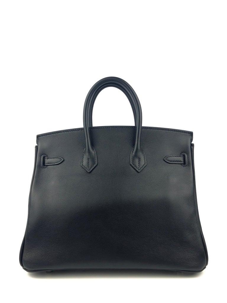 Women's or Men's Hermes Birkin 25 Black Noir Palladium Hardware  For Sale