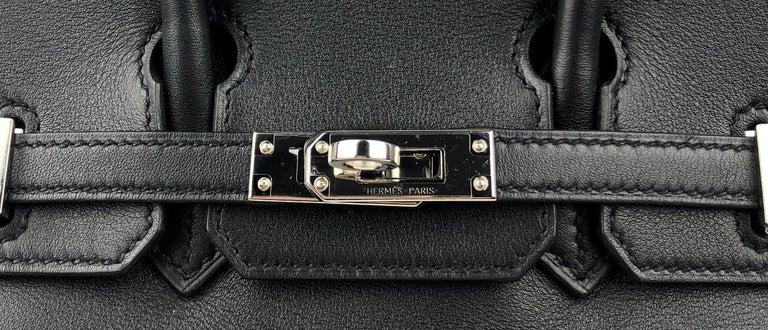 Hermes Birkin 25 Black Noir Palladium Hardware  For Sale 1