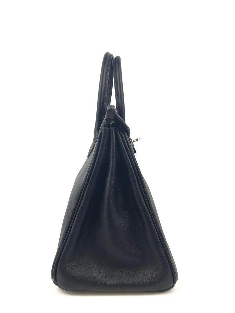 Hermes Birkin 25 Black Noir Palladium Hardware  For Sale 3