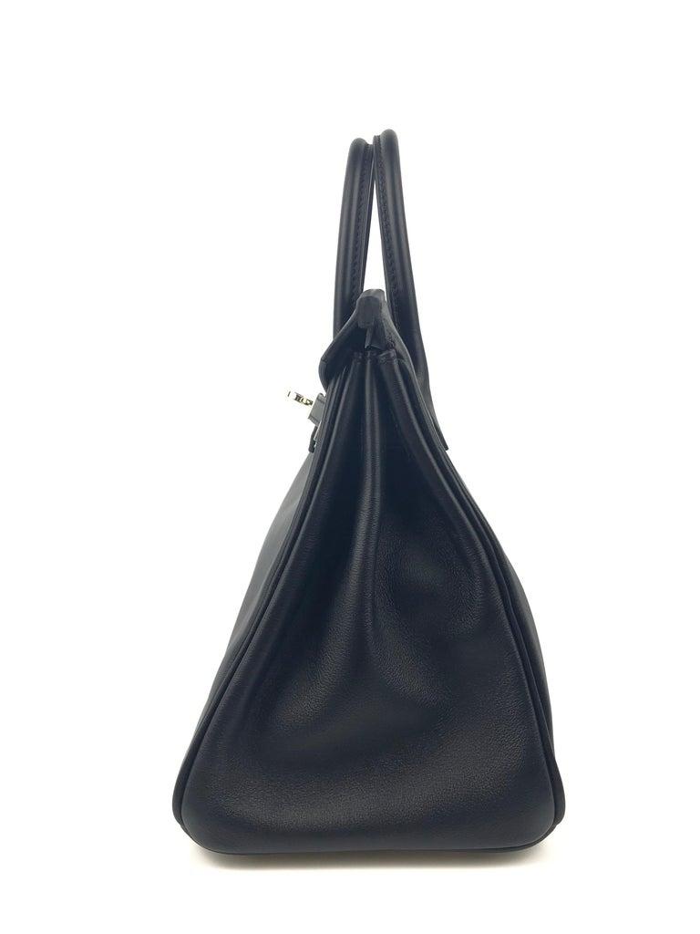 Hermes Birkin 25 Black Noir Palladium Hardware  For Sale 4