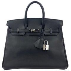 Hermes Birkin 25 Black Noir Palladium Hardware