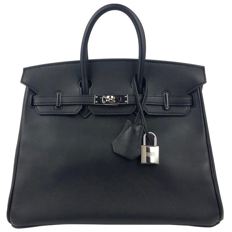 Hermes Birkin 25 Black Noir Palladium Hardware  For Sale