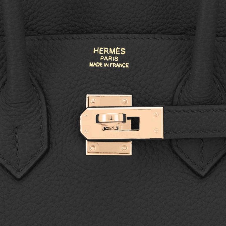 Hermes Birkin 25 Black Togo Rose Gold Hardware Bag Jewel Y Stamp, 2020 6