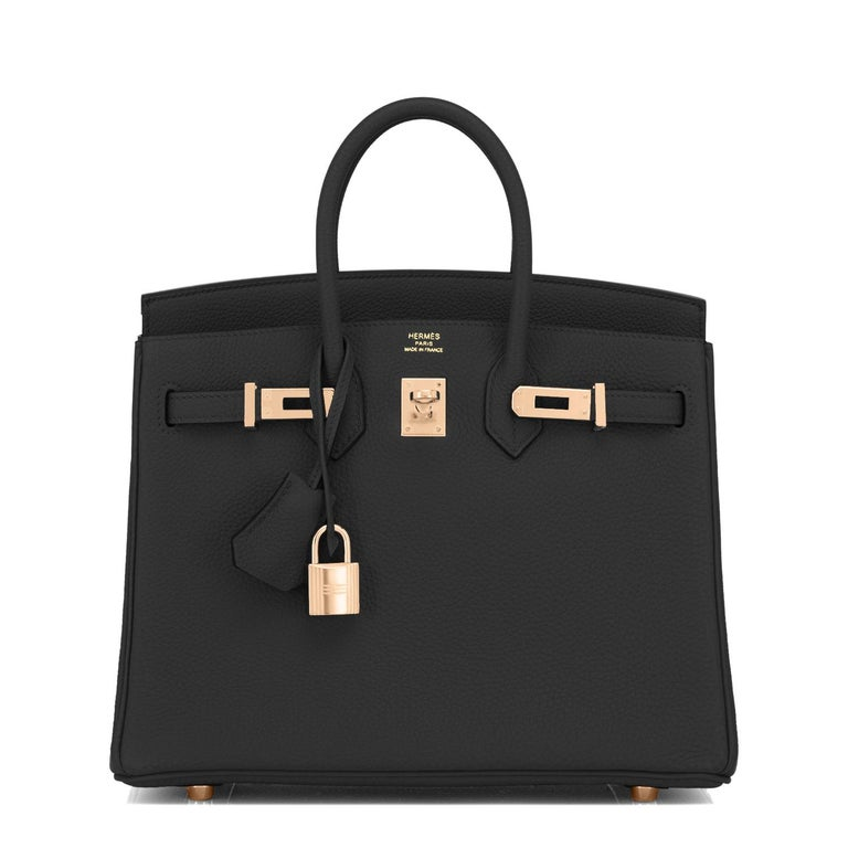 Hermes Birkin 25 Black Togo Rose Gold Hardware Bag Jewel Y Stamp, 2020 In New Condition For Sale In New York, NY