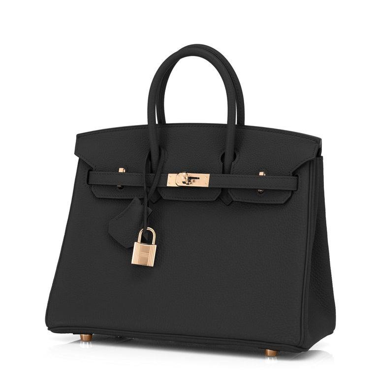 Women's or Men's Hermes Birkin 25 Black Togo Rose Gold Hardware Bag Jewel Y Stamp, 2020