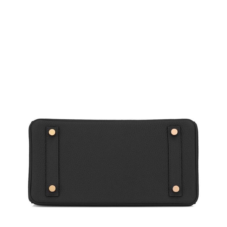Hermes Birkin 25 Black Togo Rose Gold Hardware Bag Jewel Y Stamp, 2020 2
