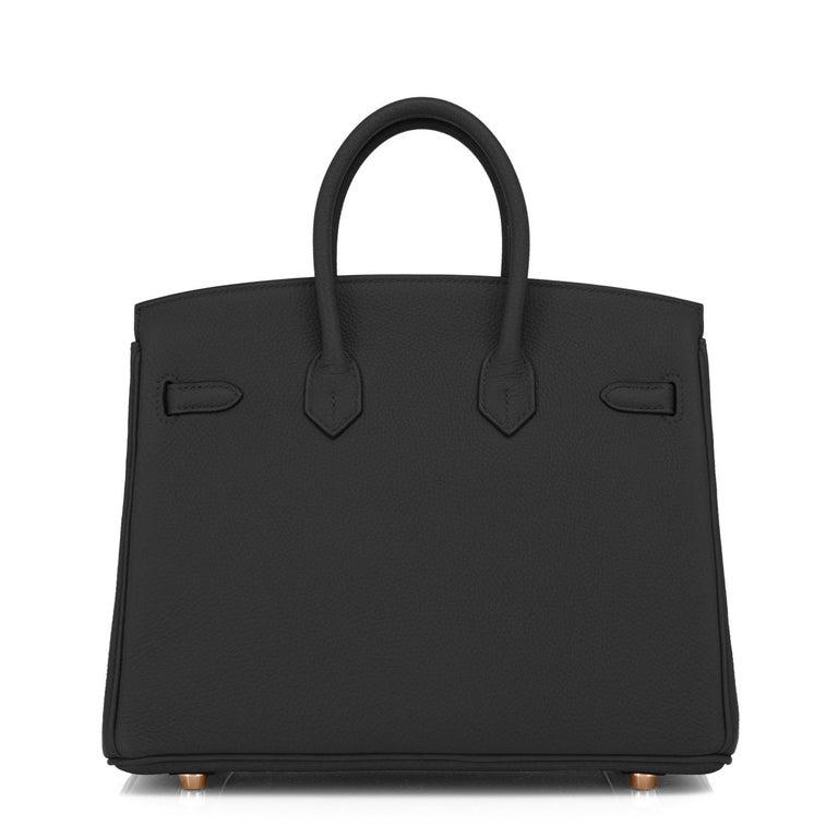 Hermes Birkin 25 Black Togo Rose Gold Hardware Bag Jewel Y Stamp, 2020 3